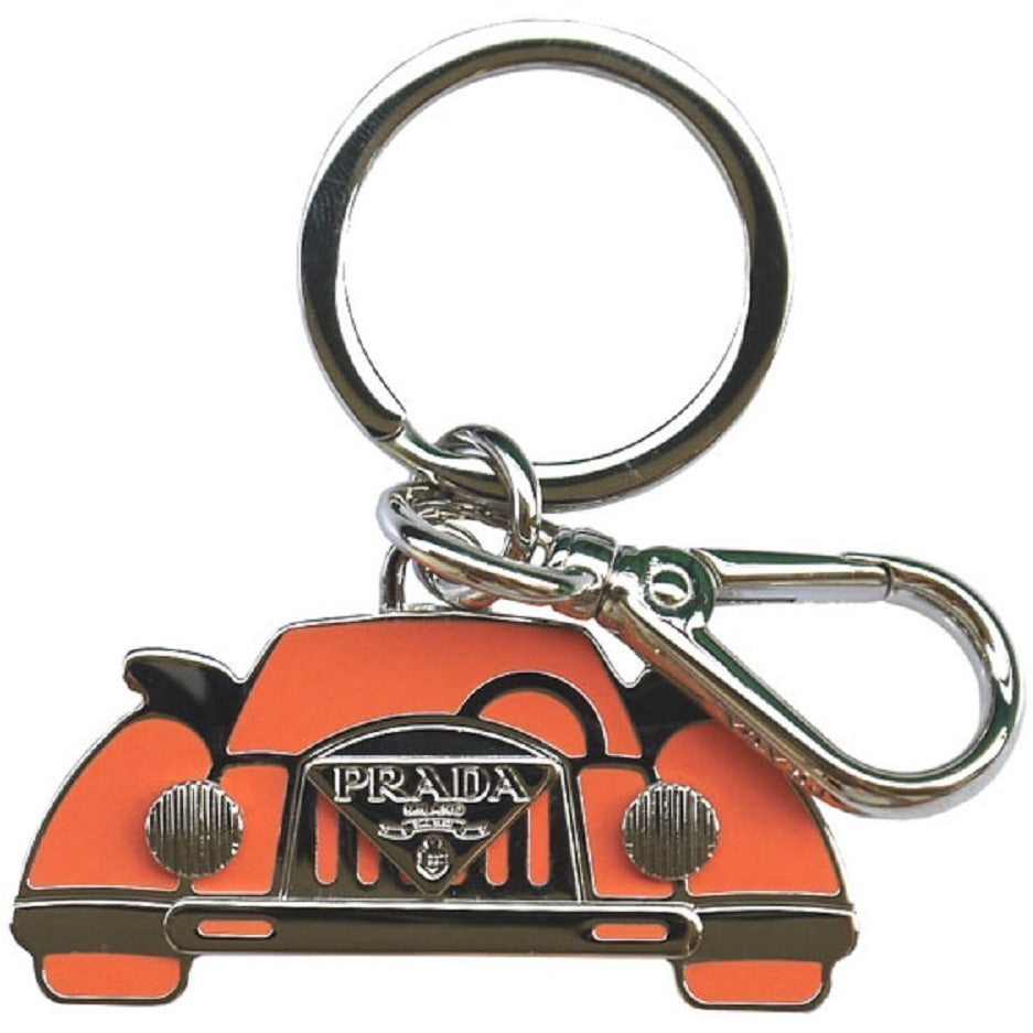 Prada Orange Silver Logo Vintage Car Keychain Charm 1PS530
