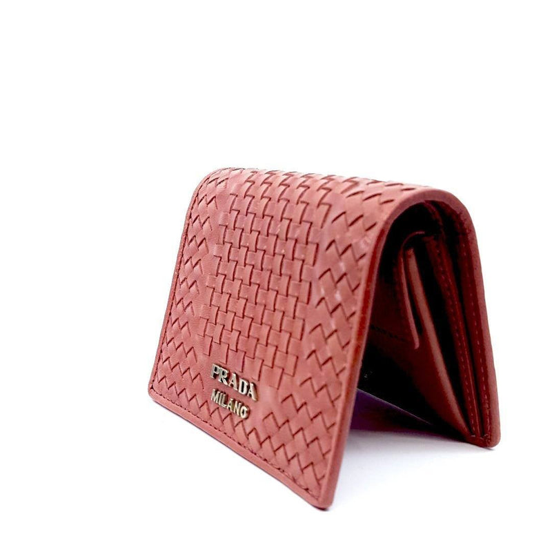Prada Pink Portafoglio Verticale Bruyere Madras Textured Leather Wallet 1MV204 Wallets Prada