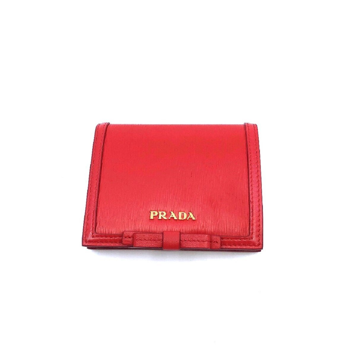 Prada Portafoglio Verticale Fuxia Red Leather Vitello Move Flap Bow Wallet 1MV204