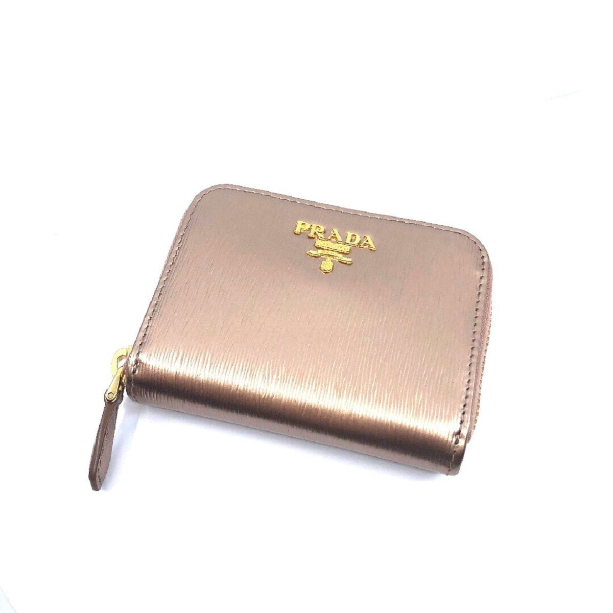 Prada Womens Vitello Move Pirite Gold Leather Zippered Wallet 1MM268