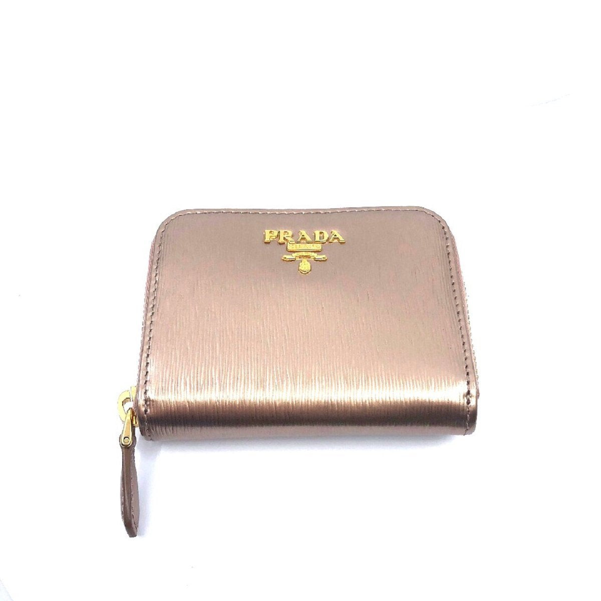 Prada Portamonete Vitello Move Rose Gold Metallic Leather Zip Around Wallet 1MM268