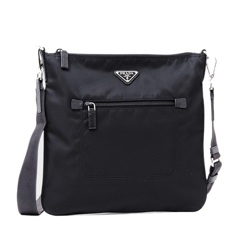 Prada Tessuto Nylon Sport Black Messenger Cross body Handbag Medium 1BH716