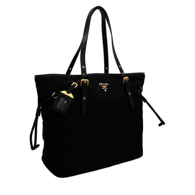 Prada Tessuto Saffiano Black Nylon Shopping Tote Bag 1BG997