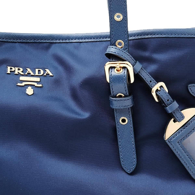 Prada Tessuto Saffiano Royal Blue Nylon and Leather Trim Shopping Tote 1BG997 Handbags Prada