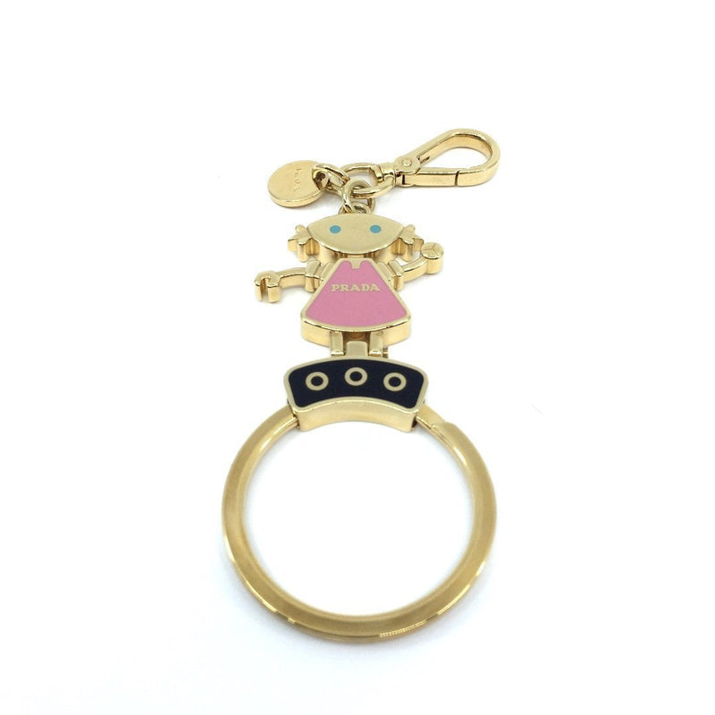 Prada Trick Robot Charm Enameled Pink Dress Gold Toned Metal Keychain Girl 1TL135