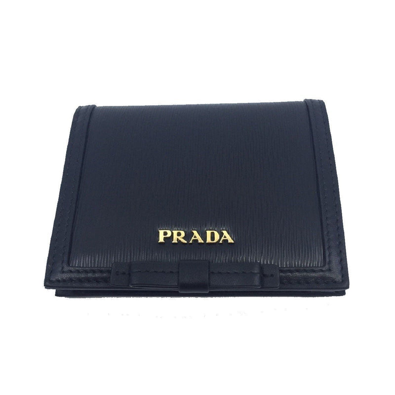 Prada Vitello Move Leather Bi Fold Flap Bow Front Snap Close Wallet 1MV204