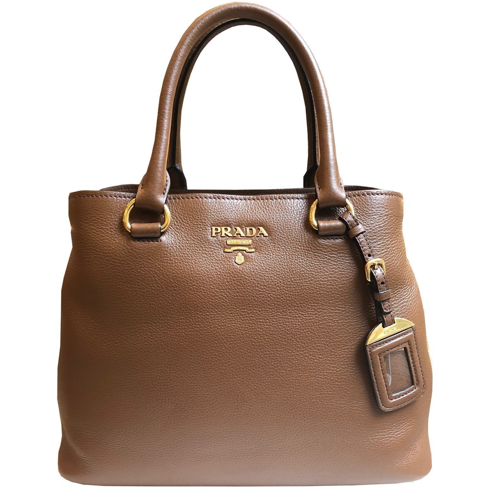 Prada Women's Brown Vitello Phenix Leather Large Tote Handbag 1BA058