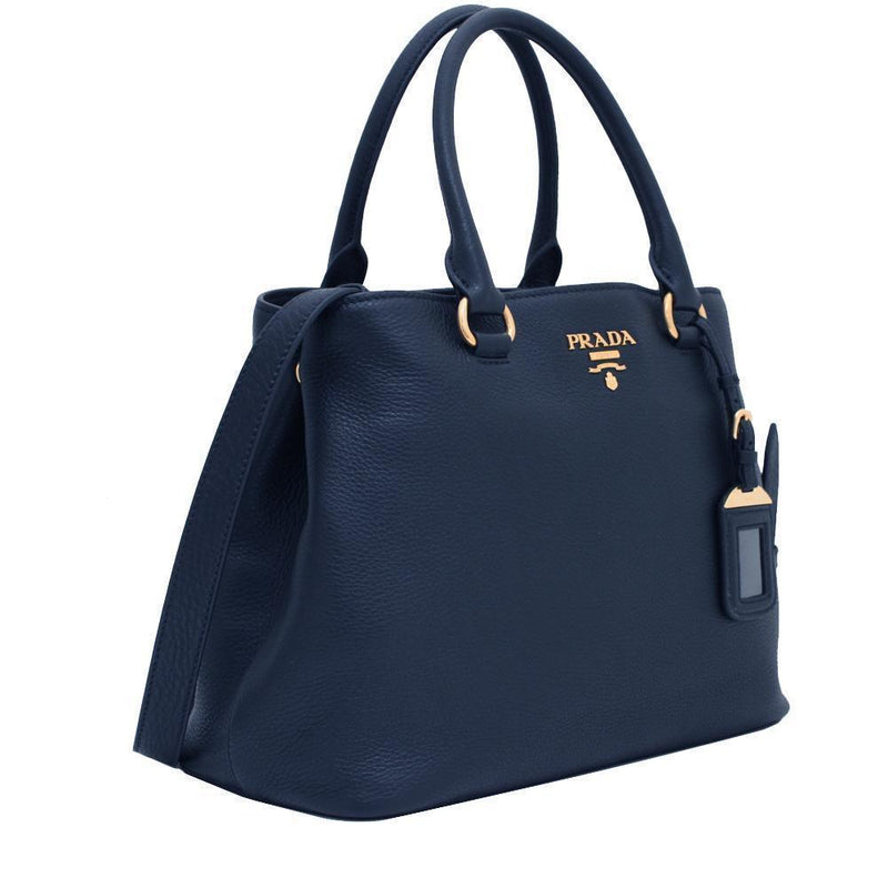 Prada Women's Navy Blue Vitello Phenix Leather Adjustable Handbag Tote 1BA058