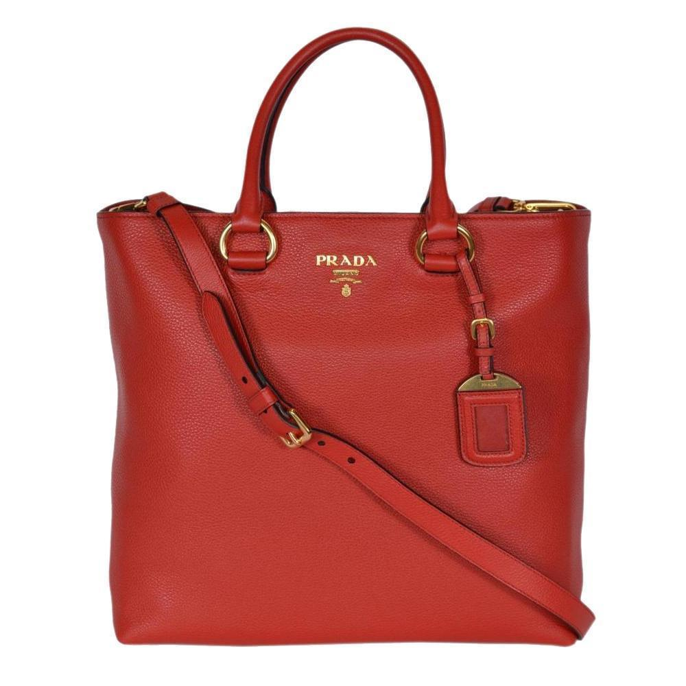 Prada Women's Red Vitello Phenix Leather Shopping Tote 1BG865