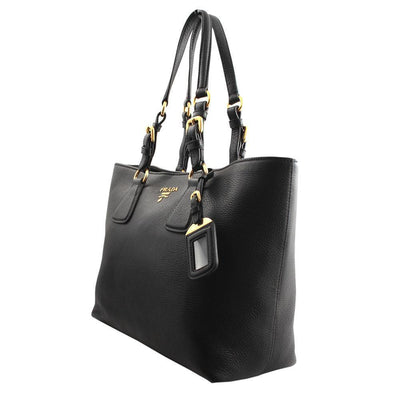 Prada Women's Vitello Phenix Black Leather Shopping Tote Handbag 1BG043
