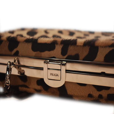 Prada Women's Cavallino St. Le Leopard Beige Calf Hair Clutch Bag 1BF010 Handbags Prada