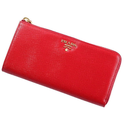 Prada Women's Red Vitello Move Quarter Zip Wallet 1ML183 Handbags Prada