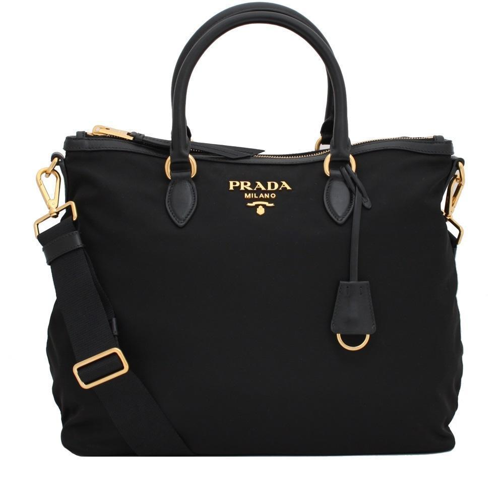 Prada Womens Two Way Black Tessuto Nylon Tote Crossbody Calf Leather Trim 1BC060 Handbags Prada