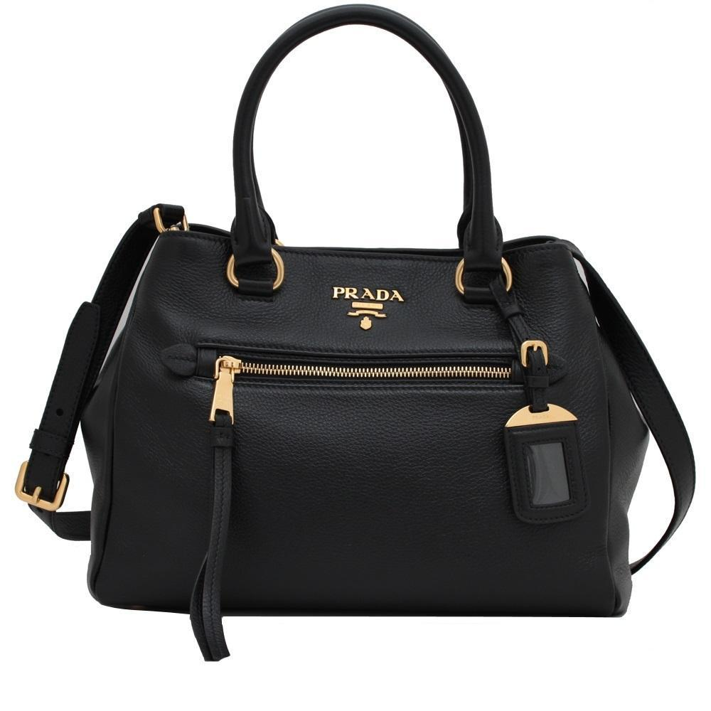 Prada Womens Vitello Phenix Black Nero Leather Satchel Handbag 1BG044