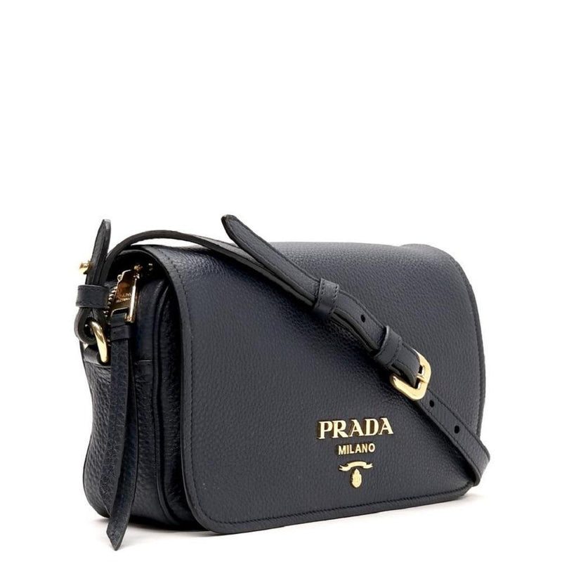 Prada Womens Vitello Phenix Flap Navy Leather Crossbody Bag 1BD163