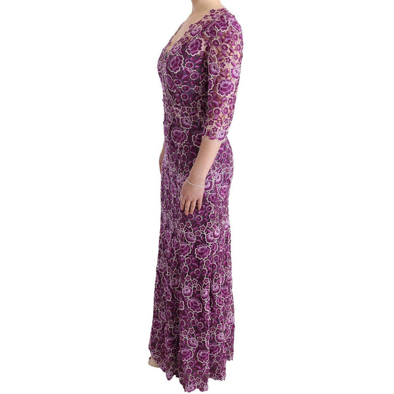 Purple Floral Ricamo Sheath Long Dress Dolce & Gabbana