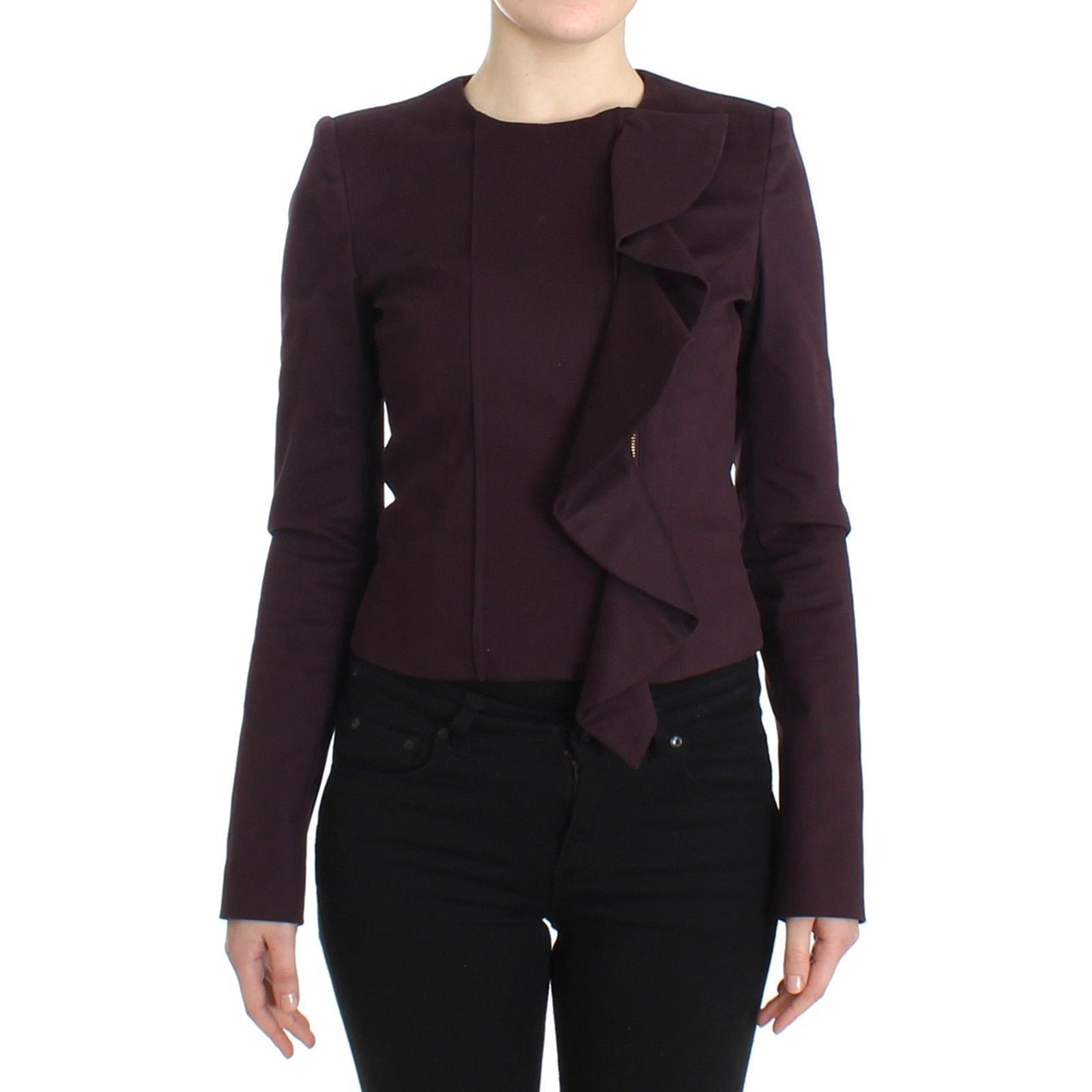 Purple Ruched Jacket Coat Blazer Short GF Ferre