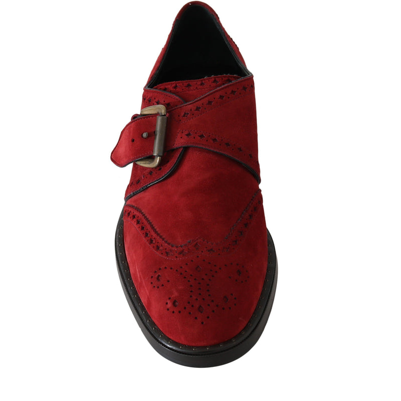 Red Bordeaux Suede Monkstrap Dress Shoes Dolce & Gabbana