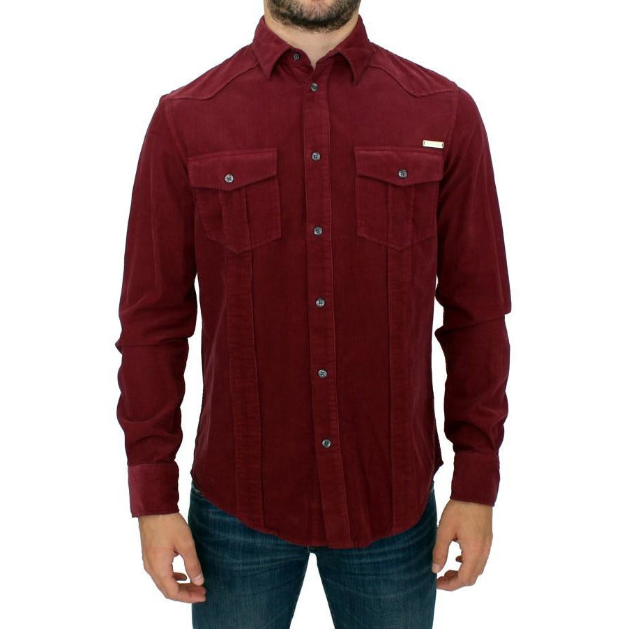 Red Button Front Cotton Casual Shirt GF Ferre