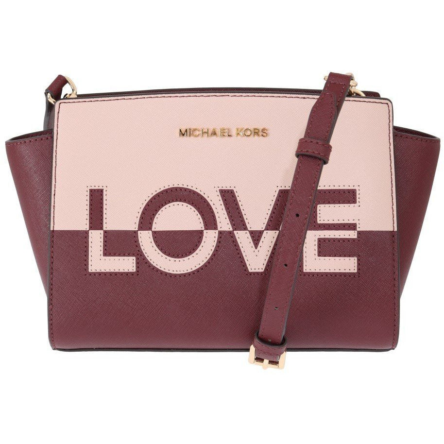 Red Pink SELMA Leather Messenger Bag Michael Kors
