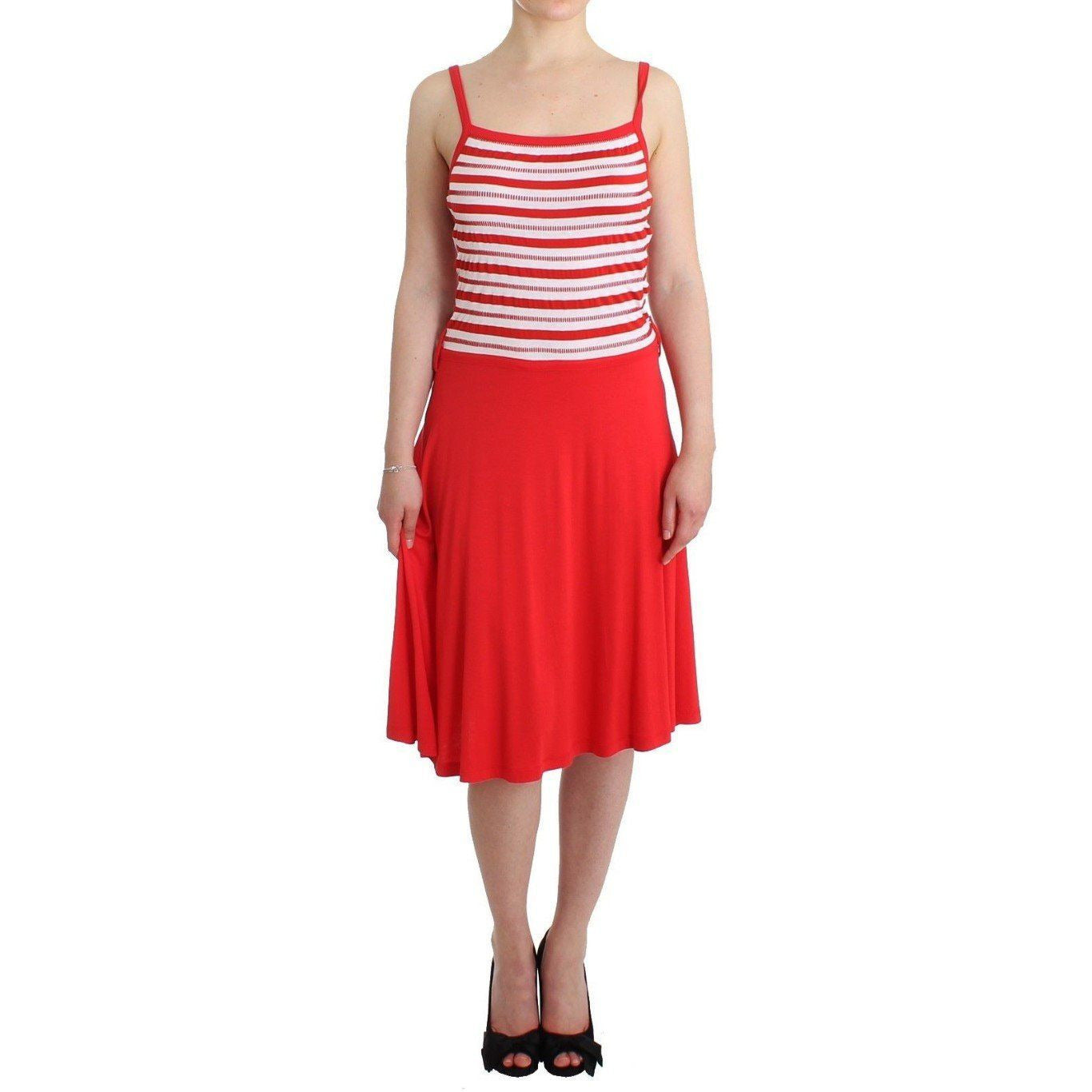 Red striped jersey A-line dress Roccobarocco