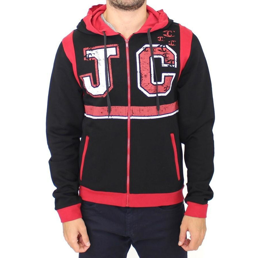 Red zipper hooded cotton sweater Cavalli