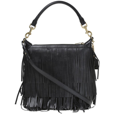 Saint Laurent Black 'Emmanuelle' Small Leather Fringe Hobo Bag 410565