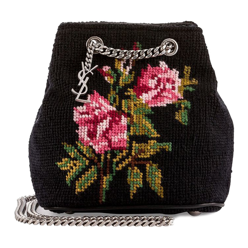 Saint Laurent Classic Baby EMMANUELLE Bucket Bag Grunge Rose Needlepoint 425068