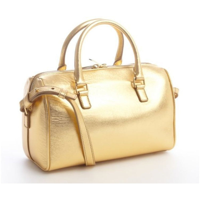Saint Laurent Classic Mini Duffle Gold Metallic Leather Purse Small 330958