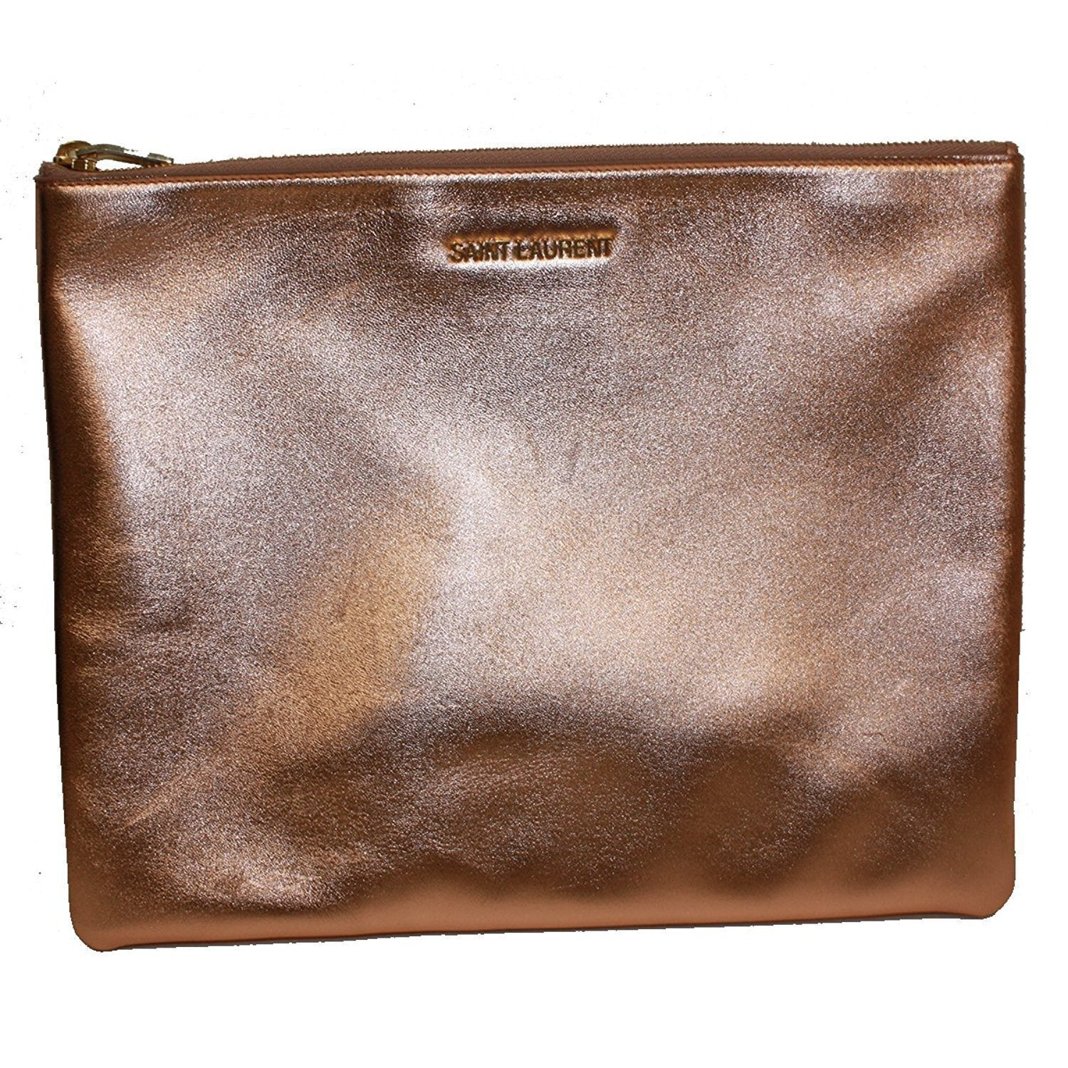 Saint Laurent Metallic Rose Gold Large Envelope Clutch Handbag 328517