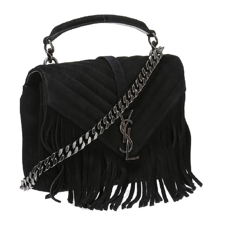 Saint Laurent Women's College Monogram Black Fringe Suede Handbag 428066