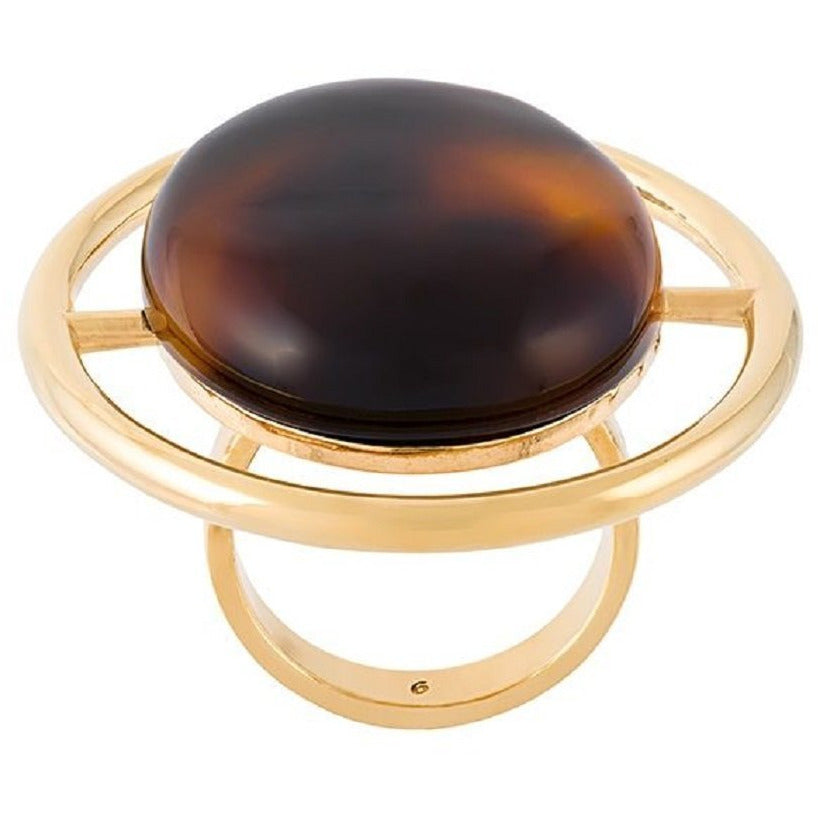 Saint Laurent Womens Large Circular Brown Tortoise Shell Gold Ring 439960