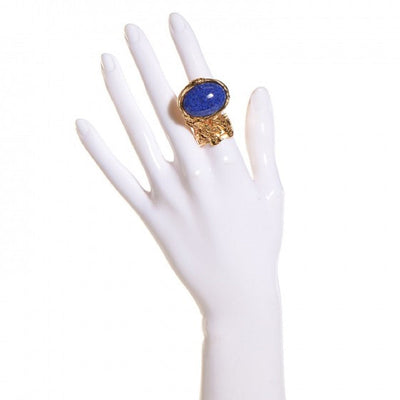 Saint Laurent YSL Arty Ovale Oval Large Lapis Ring Gold Size: 6 196994