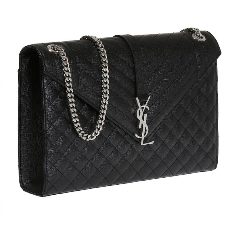Saint Laurent YSL Black Large Envelope College Monogram Handbag 396910