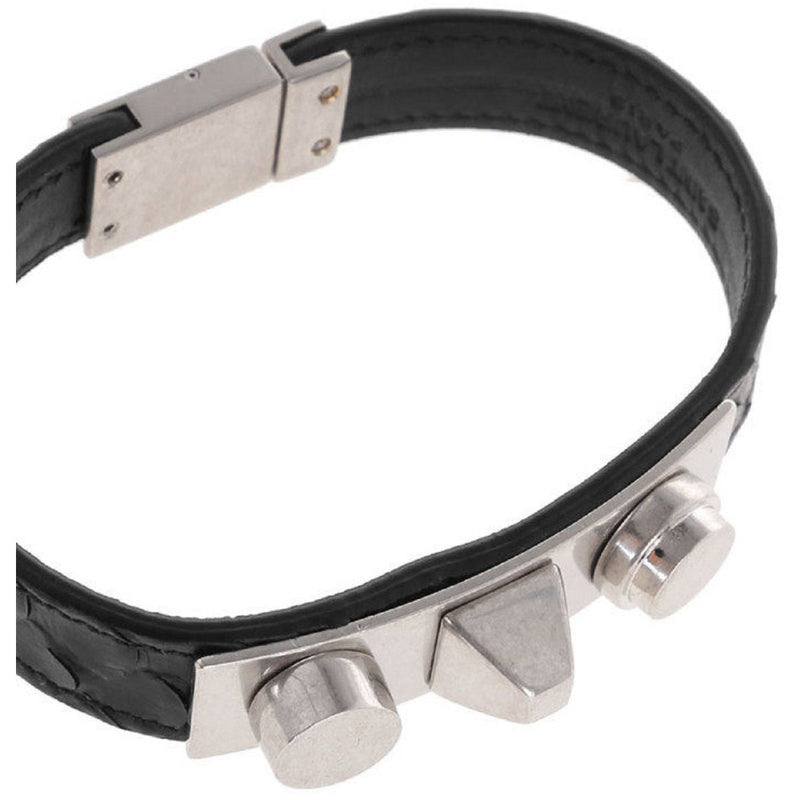 Saint Laurent YSL Black Marley Leather Bracelet Cuff Silver tone Hardware Studs M. 441293