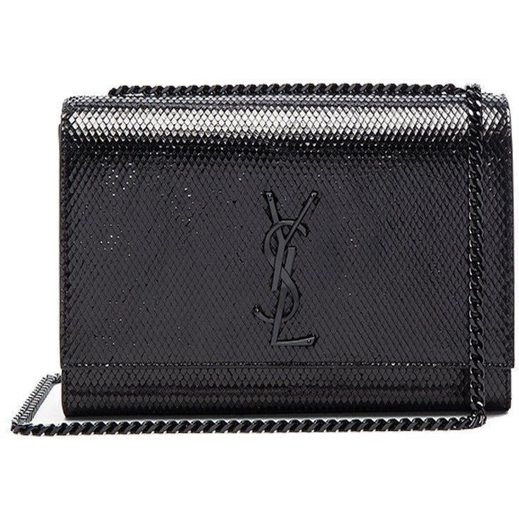 Saint Laurent YSL Black Python Monogramme Handbag 364021