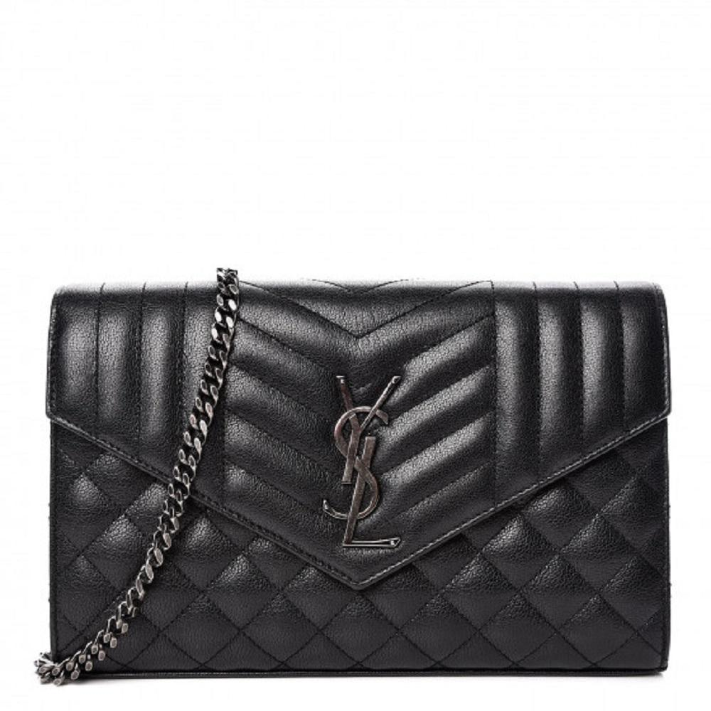 Saint Laurent YSL Black Quilted Chain Crossbody Monogram Wallet 437473
