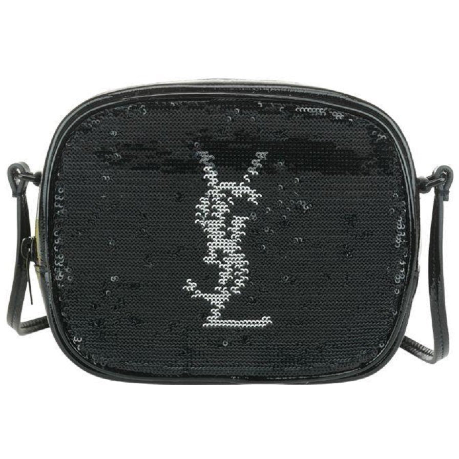 Saint Laurent YSL Black Sequin Leather Monogram Blogger Mini Handbag 482409