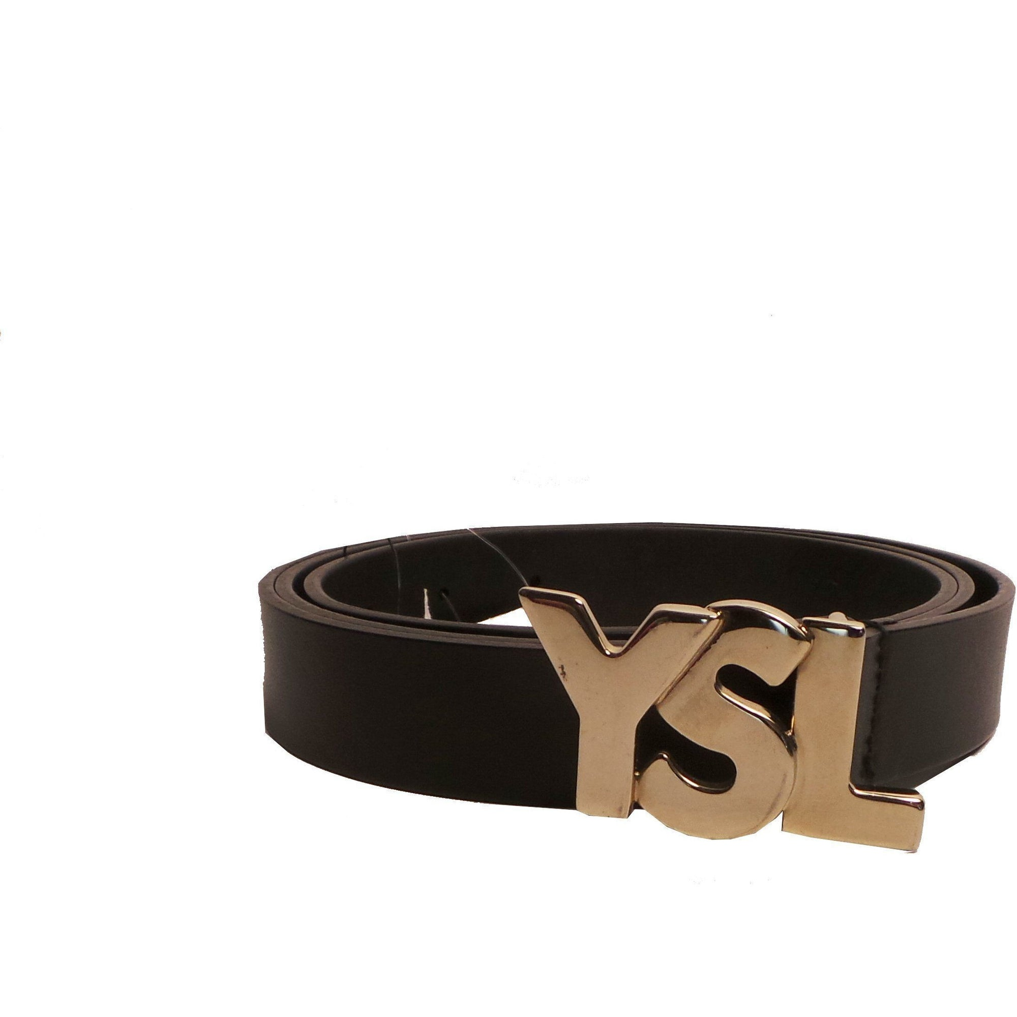Saint Laurent YSL Black Unisex Leather Belt 274610 Size: 110/46