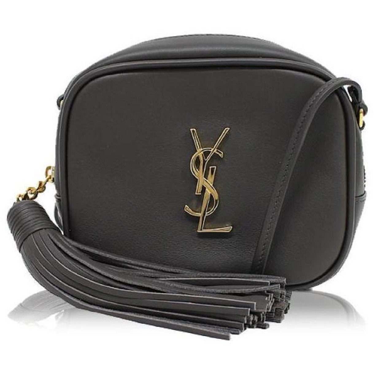 Saint Laurent YSL Charcoal Grey Nappa Monogram Blogger Bag 425317