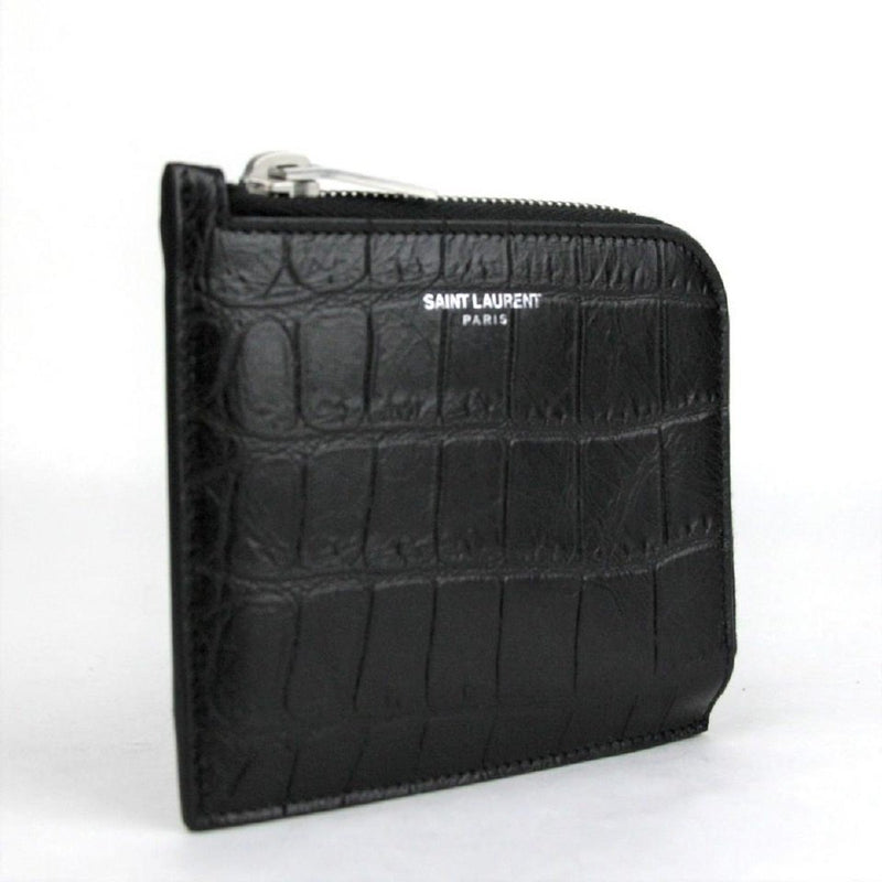 Saint Laurent YSL Crocodile Print Florida Black Mens Half-Zip Wallet 396935