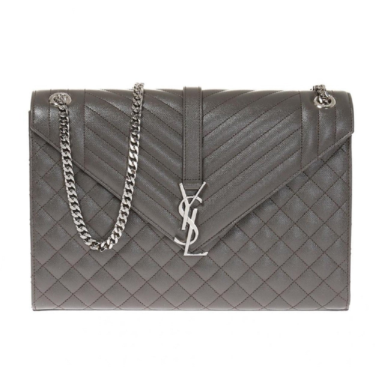 Saint Laurent YSL Gray Large Envelope Classic College Monogram Handbag 396910