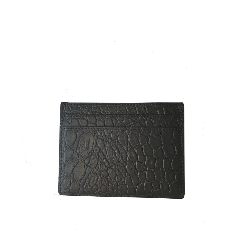 Saint Laurent YSL Gray Smooth Leather Unisex Credit Card Case 375946