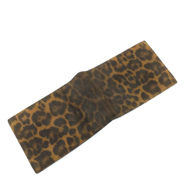 Saint Laurent YSL Leopard Boxeur Washed Suede and Leather Wallet 360959