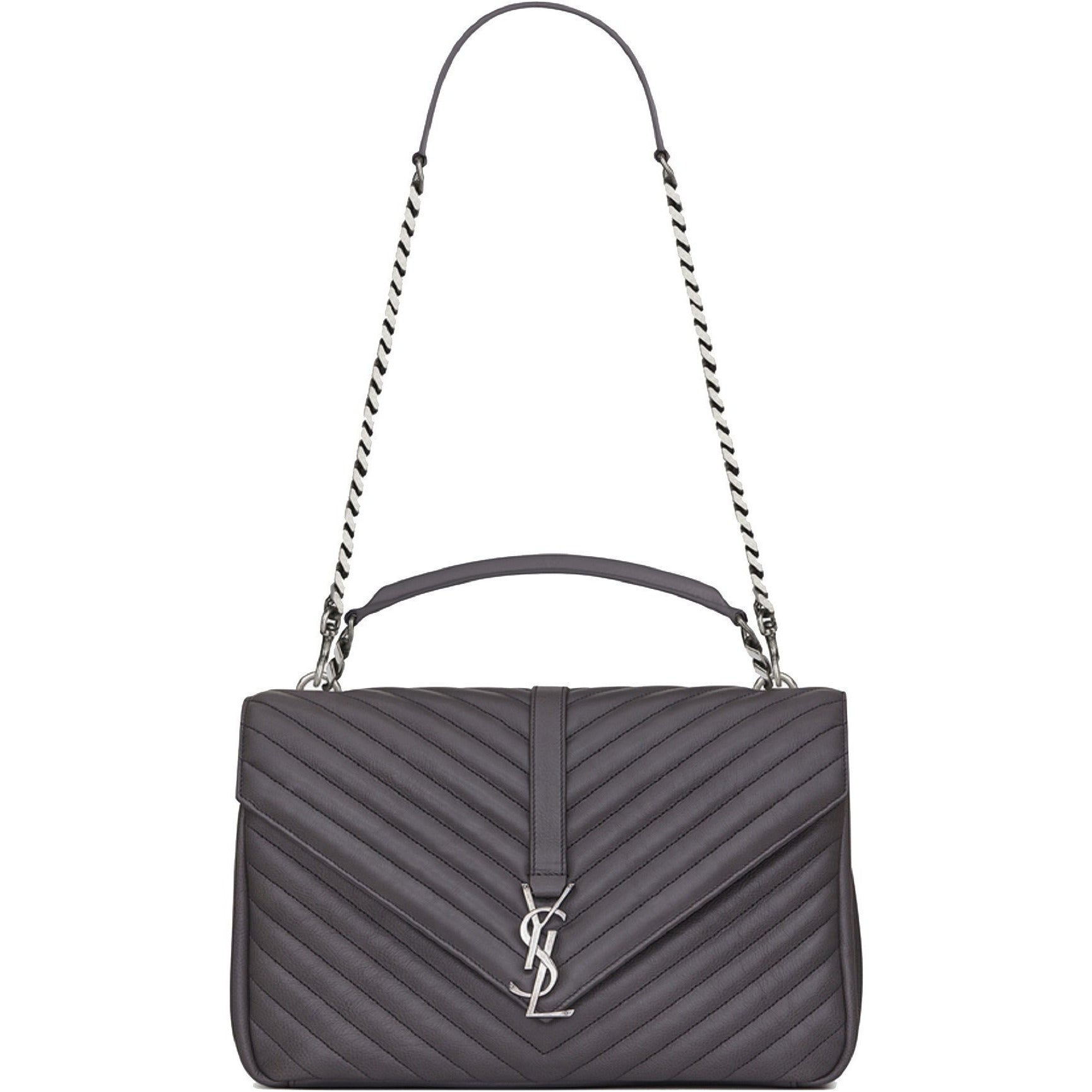 Saint Laurent YSL Monogram Collège Classic Matelasse Chevron Gray Bag 392738