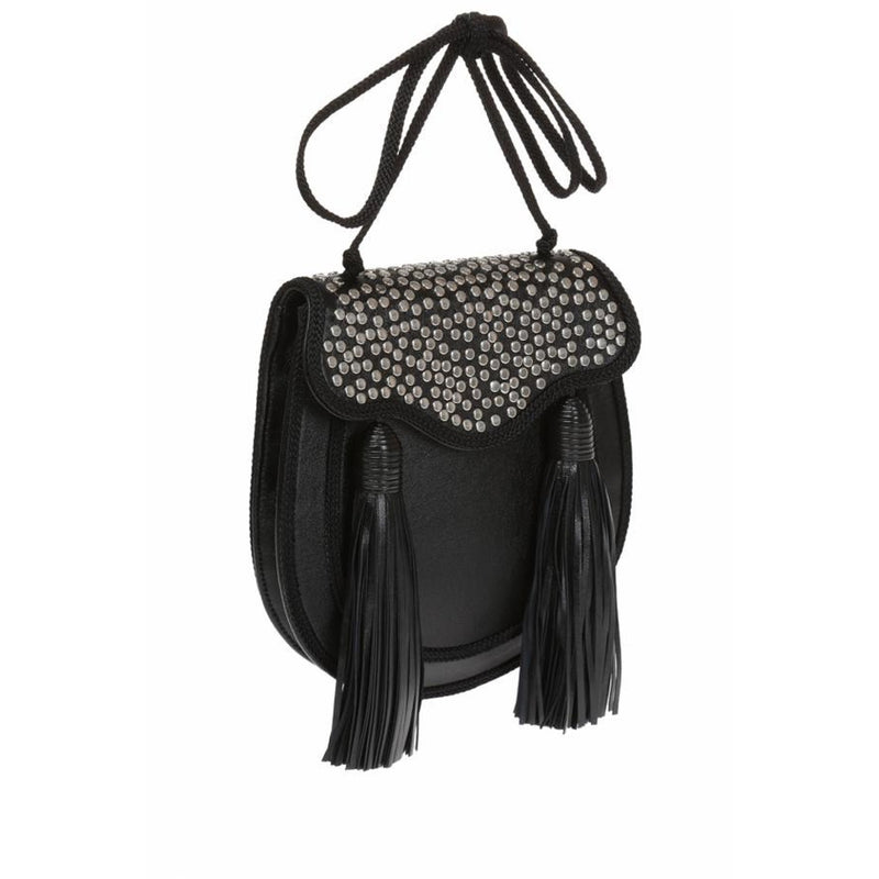 Saint Laurent YSL Opium 2 St. Lunas Nappa Leather Black Silver Stud Tassel Shoulder Bag 441703