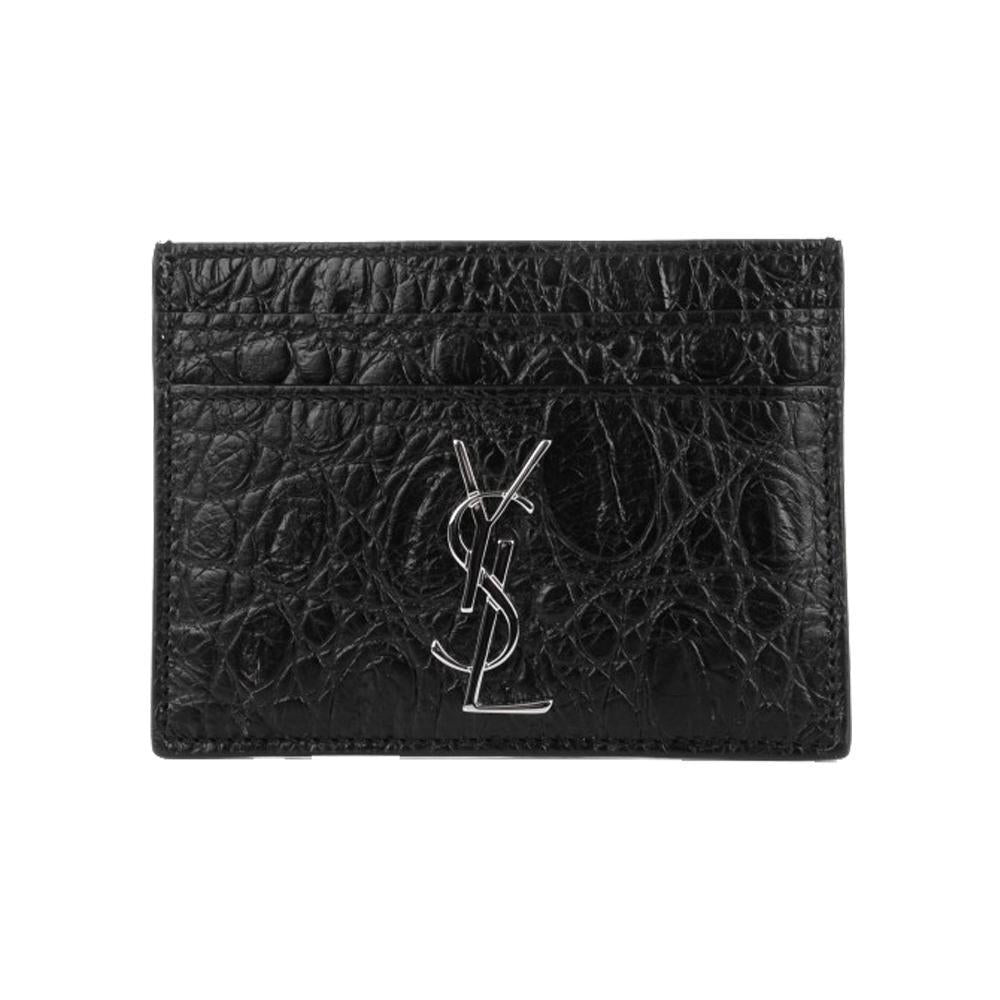 Saint Laurent YSL Unisex Black Crocodile Print Credit Card Case Small 423303