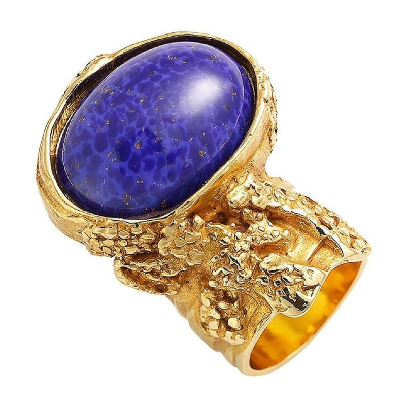 Saint Laurent YSL Women's Arty Ovale Oval Lapis Gold Ring  size 7 196994