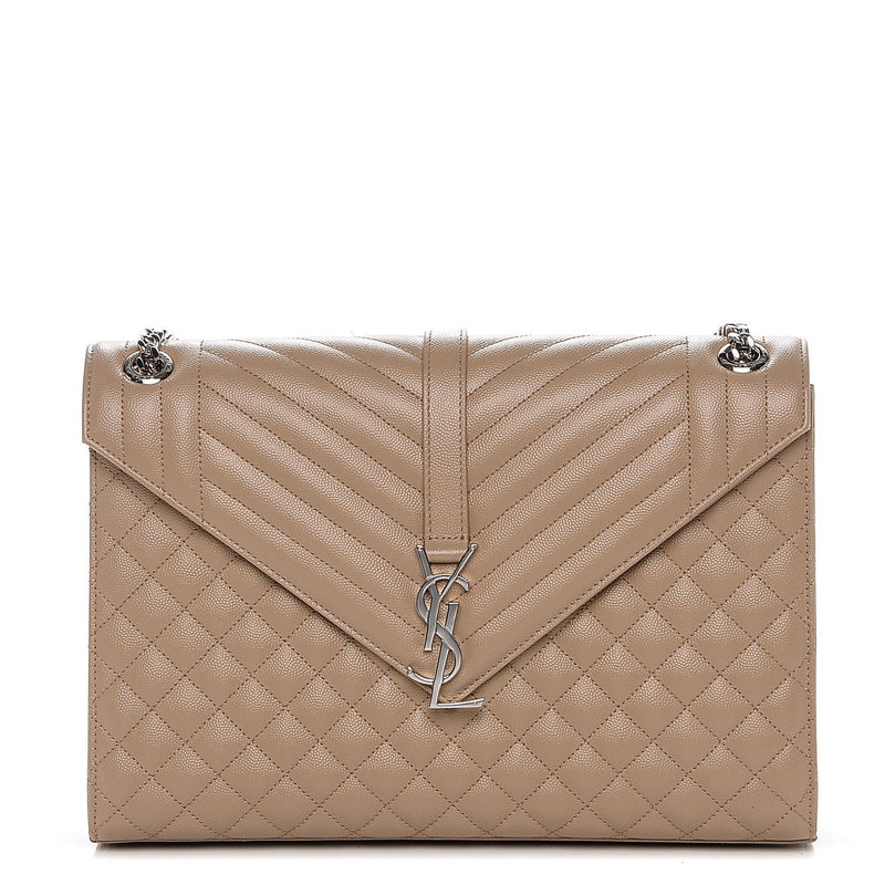 Saint Laurent YSL Women's Beige Large Envelope Classic Matelesse College Monogram Handbag 396910