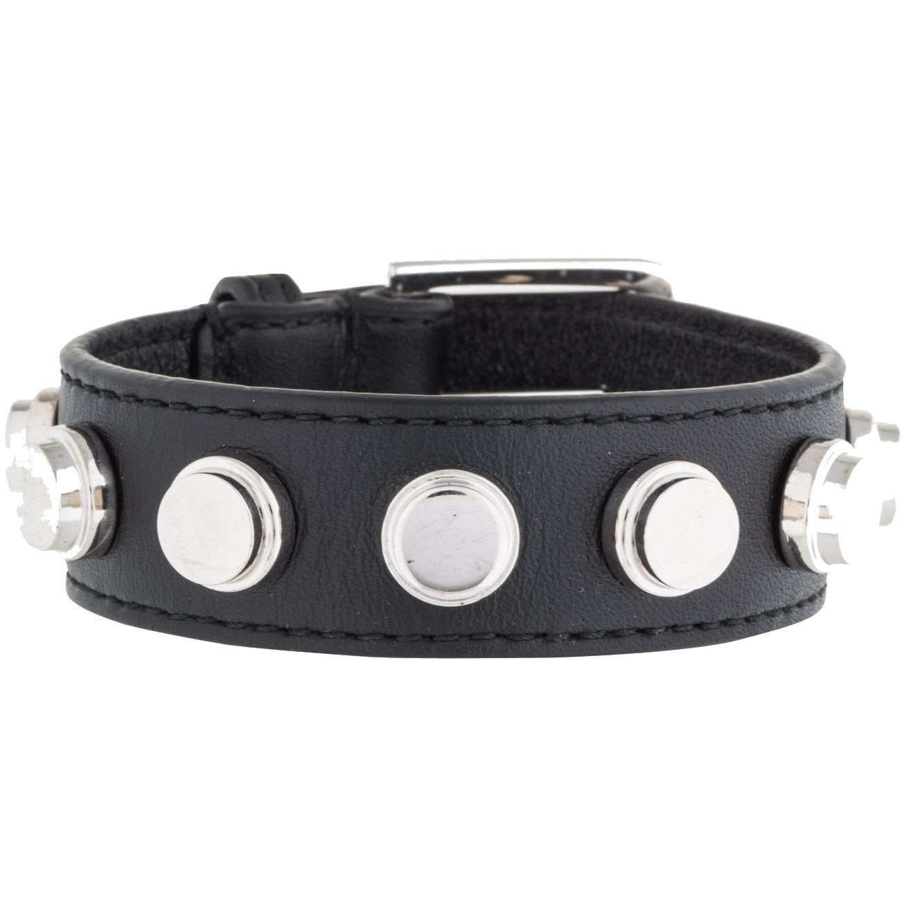 Saint Laurent YSL Women's Black Leather Silver Studded Luxury Bracelet 397407